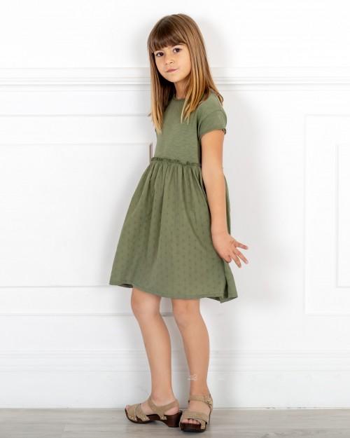 Outfit Niña Vestido Algodón Orgánico Combinado Verde Caza & Zuecos Ante Beige