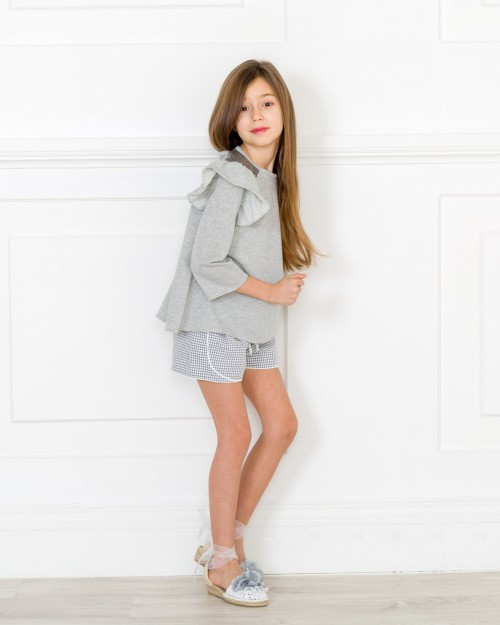 Outfit Jersey Lola & Short Vichy Gris & Blanco
