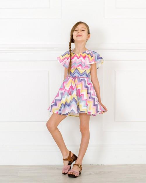 Outfit Vestido Zig-Zag Cuello Volante Multicolor