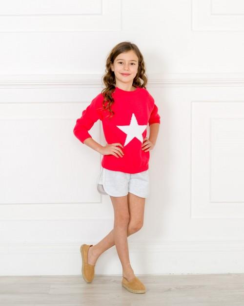 Outfit Jersey Estrella Coral & Short Felpa Gris