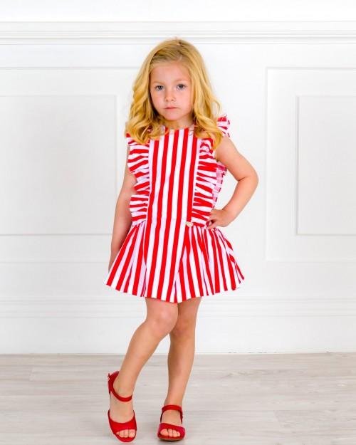Outfit Niña Vestido Algodón Orgánico Rayas & Espalda Corazón & Sandalia Piel Rojo
