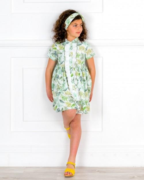Outfit Niña Vestido Camisero Estampado Tropical & Cinta Pelo & Zuecos Ante Amarillo