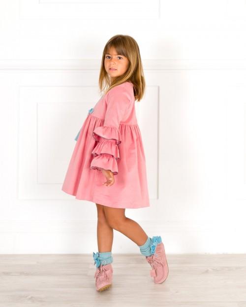 Outfit Vestido Manga Volantes Rosa & Calzas Menta