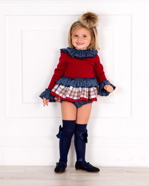 Outfit Niña Conjunto Blusón & Short Cuadros Granate