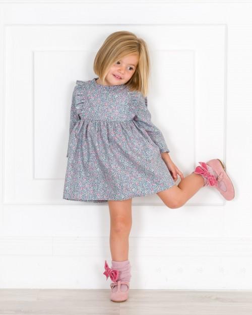 Outfit Niña Vestido Liberty Azul & Rosa & Calzas Rosa