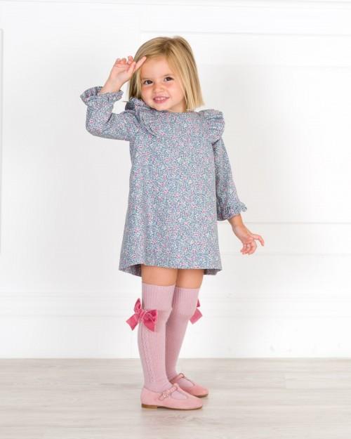 Outfit Niña Vestido Estampado Liberty Azul & Rosa & Calzas Rosa