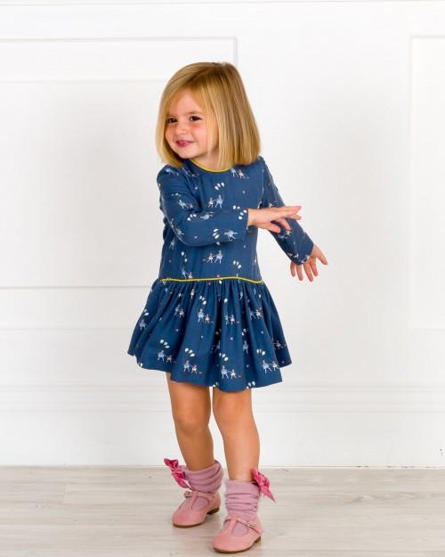 Outfit Niña Vestido Globos Azul & Calzas Rosa Palo