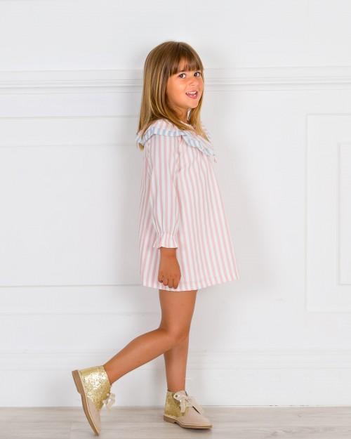 Outfit Vestido Niña Rayas Rosa & Botines Glitter