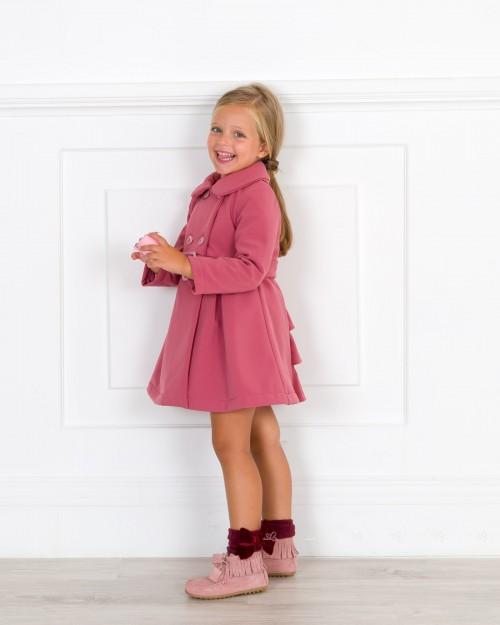 Outfit Niña Abrigo Cruzado & Espalda Volantes Rosa