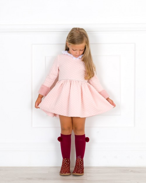 Outfit Niña Vestido Lunares Rosa Empolvado & Puño Pelo Sintético