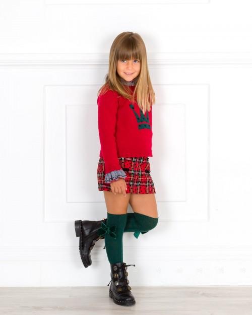 Outfit Niña Conjunto Blusa Jersey & Short Tartán Rojo & Botas Negras