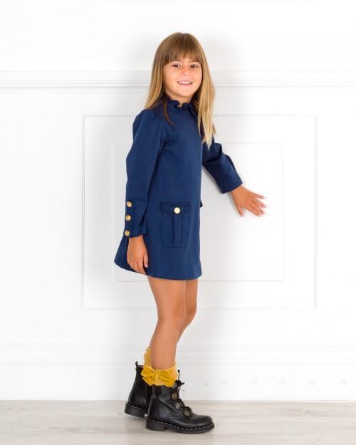 Outfit Niña Vestido Punto Roma Marino & Calzas Mostaza
