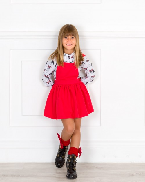 Outfit Niña Conjunto Blusa Frenchie & Pichi Tirantes Cruzados Rojo