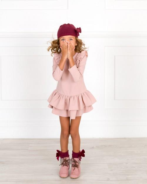 Outfit Niña Vestido Volantes Rosa Empolvado