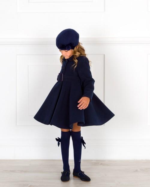 Outfit Niña Abrigo Niña Muflon Marino con Cinturón