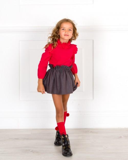 Outfit Niña Blusa Algodón Plumeti Rojo & Falda Rayas Gris & Rojo