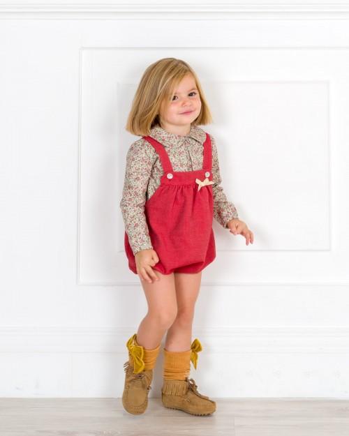 Outfit Bebé Niña Conjunto Ranita Granate & Botines Flecos