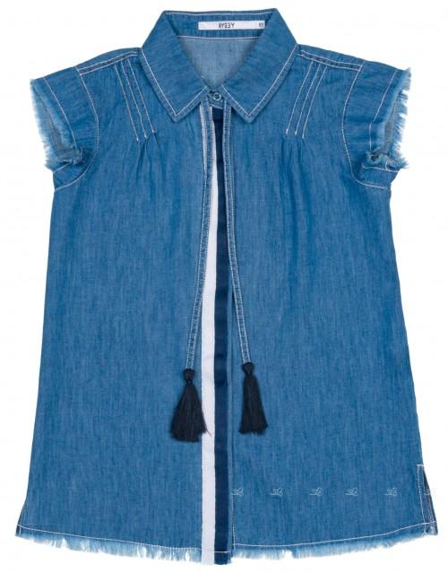 AYGEY Camisa Niña Denim Borlas Azul