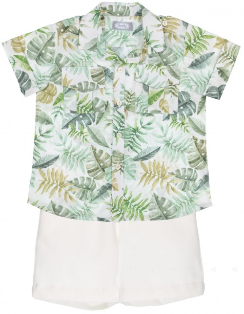 Rochy Conjunto Niño Camisa Tropical Verde & Short Crudo