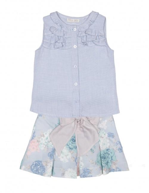 Conjunto Top Rayas & Falda Floral Azul Empolvado