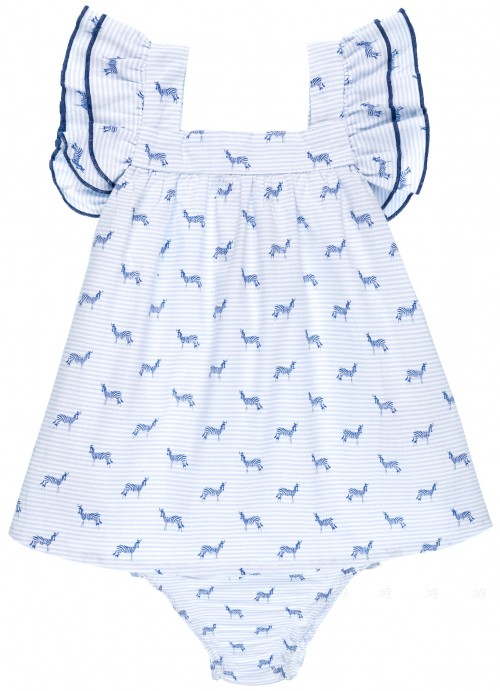 Dadati Conjunto Niña Vestido & Braguita Algodón Estampado Rayas & Cebras Azul