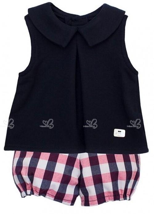 Conjunto Bebé Niño Camisa Marino & Bombacho Cuadros