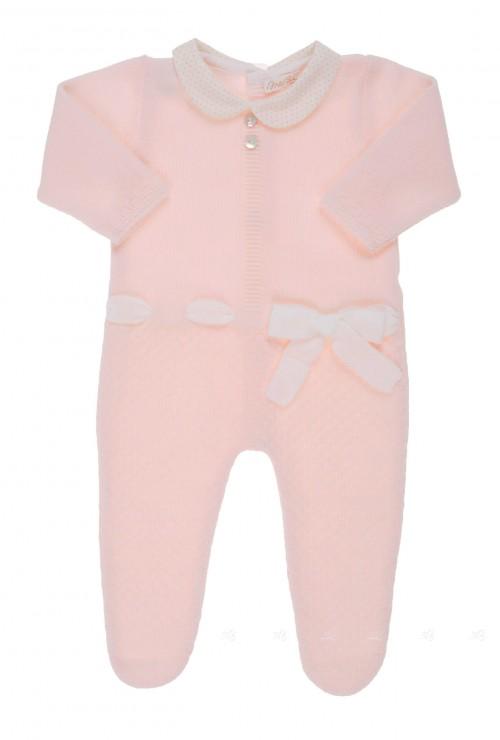 Pelele rosa cuello bebe y lazo
