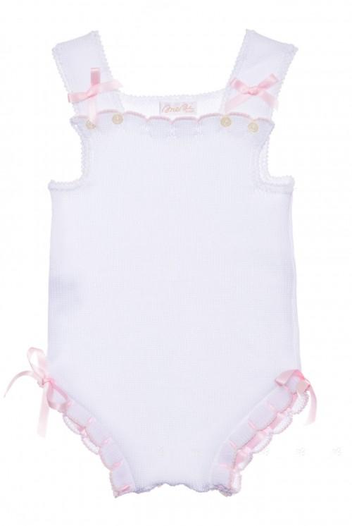Body punto con lacitos blanco y rosa