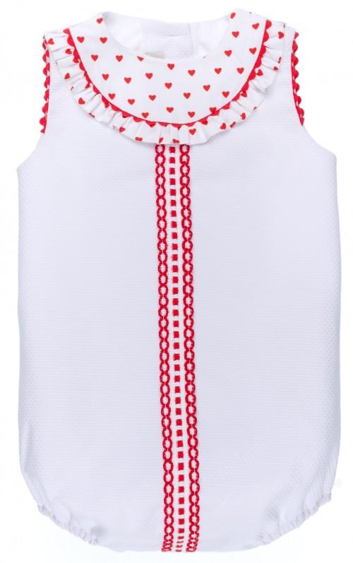 Pelele Bebé Piqué Blanco & Cuello Corazones Rojo