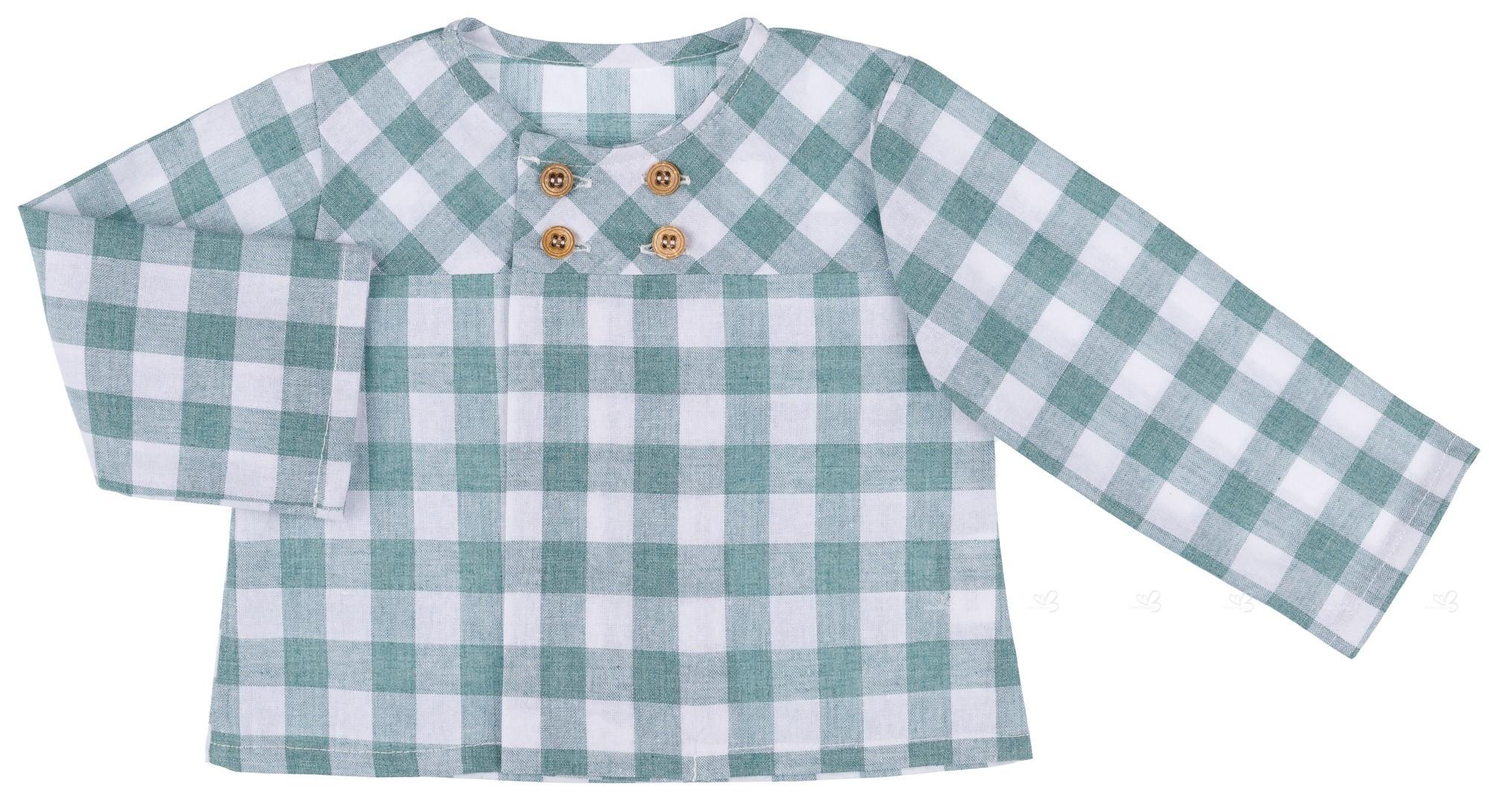 05aba4d11 Baby Yiro Conjunto Bebé Niño Camisa Vichy   Peto Punto Verde