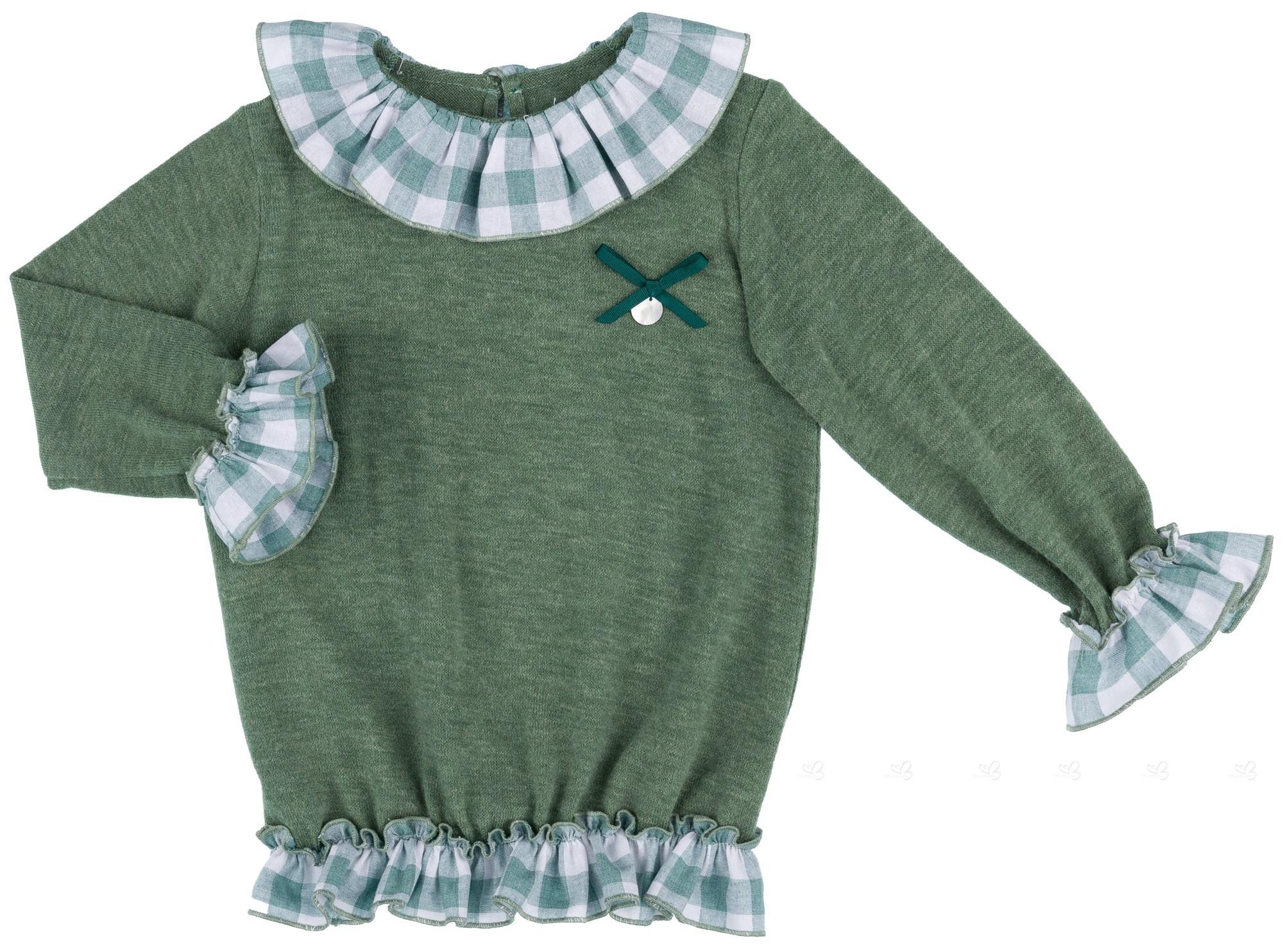 3b35fc5b0 Baby Yiro Jersey Niña Volantes Cuadros Vichy Verde