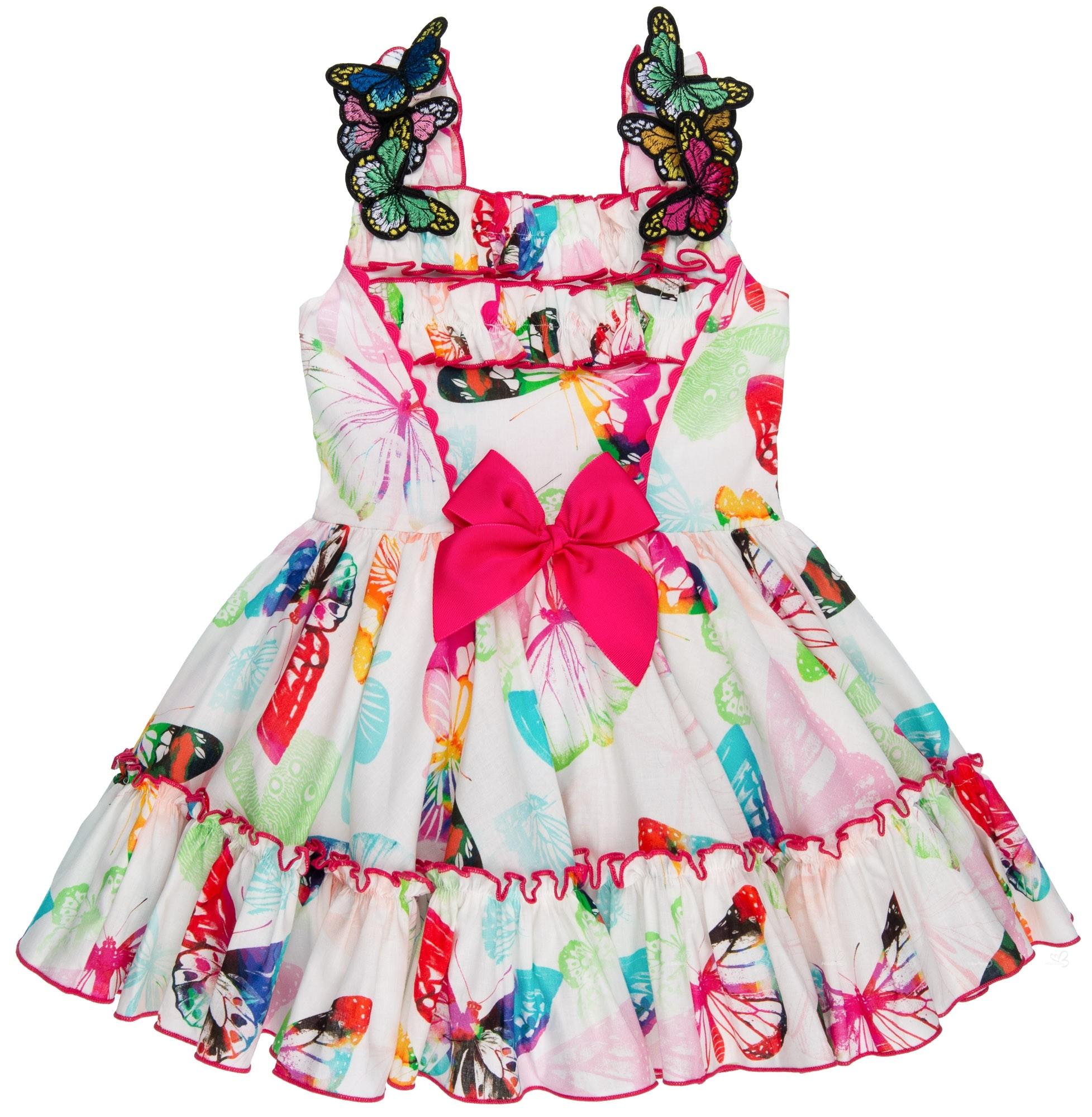 fa30259a2 Nini Moda Infantil Vestido Niña Mariposas   Volantes Fucsia ...