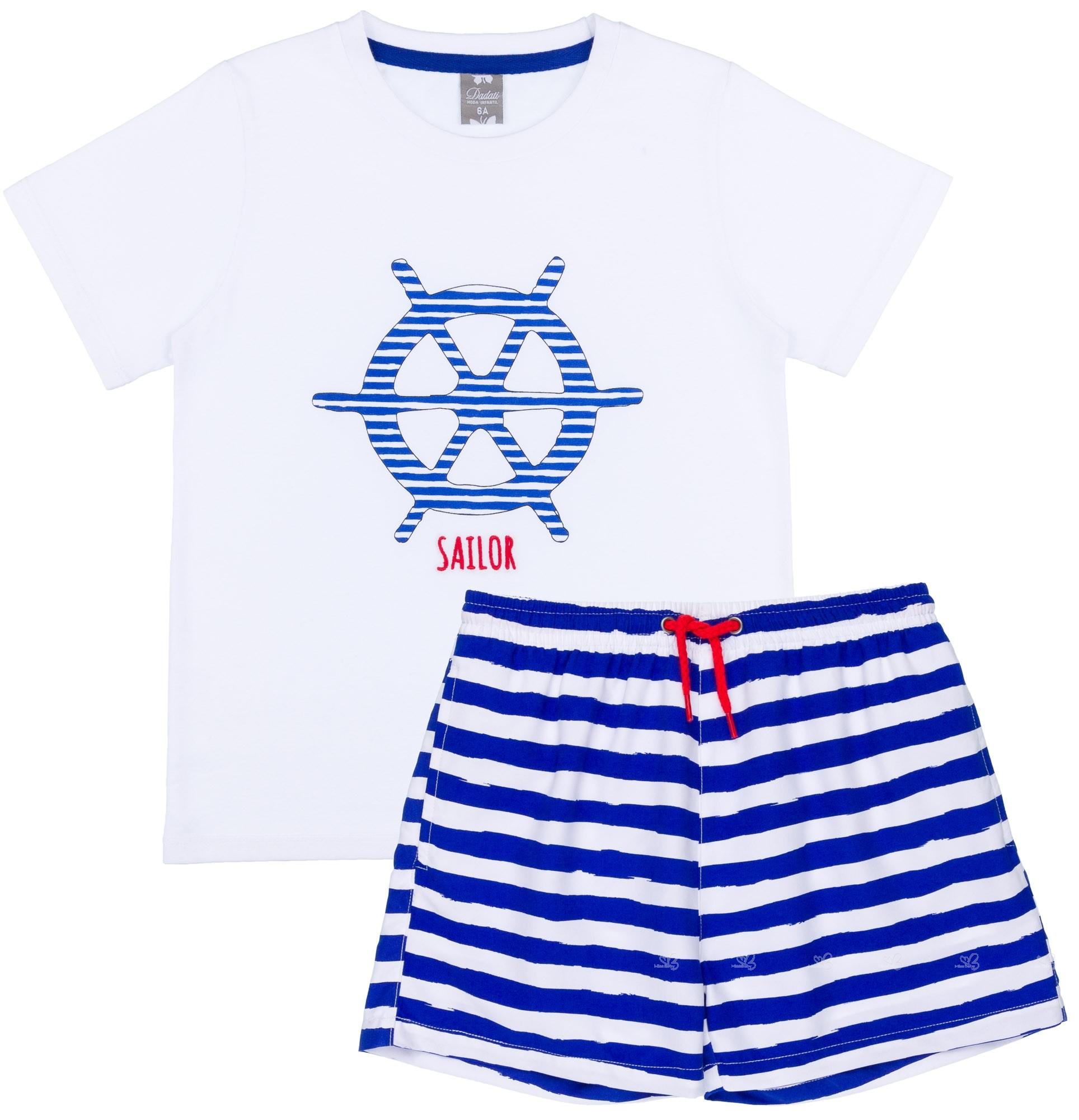 916d5c422016 Conjunto Baño Camiseta Algodón Blanca & Boxer Lycra Rayas Azul