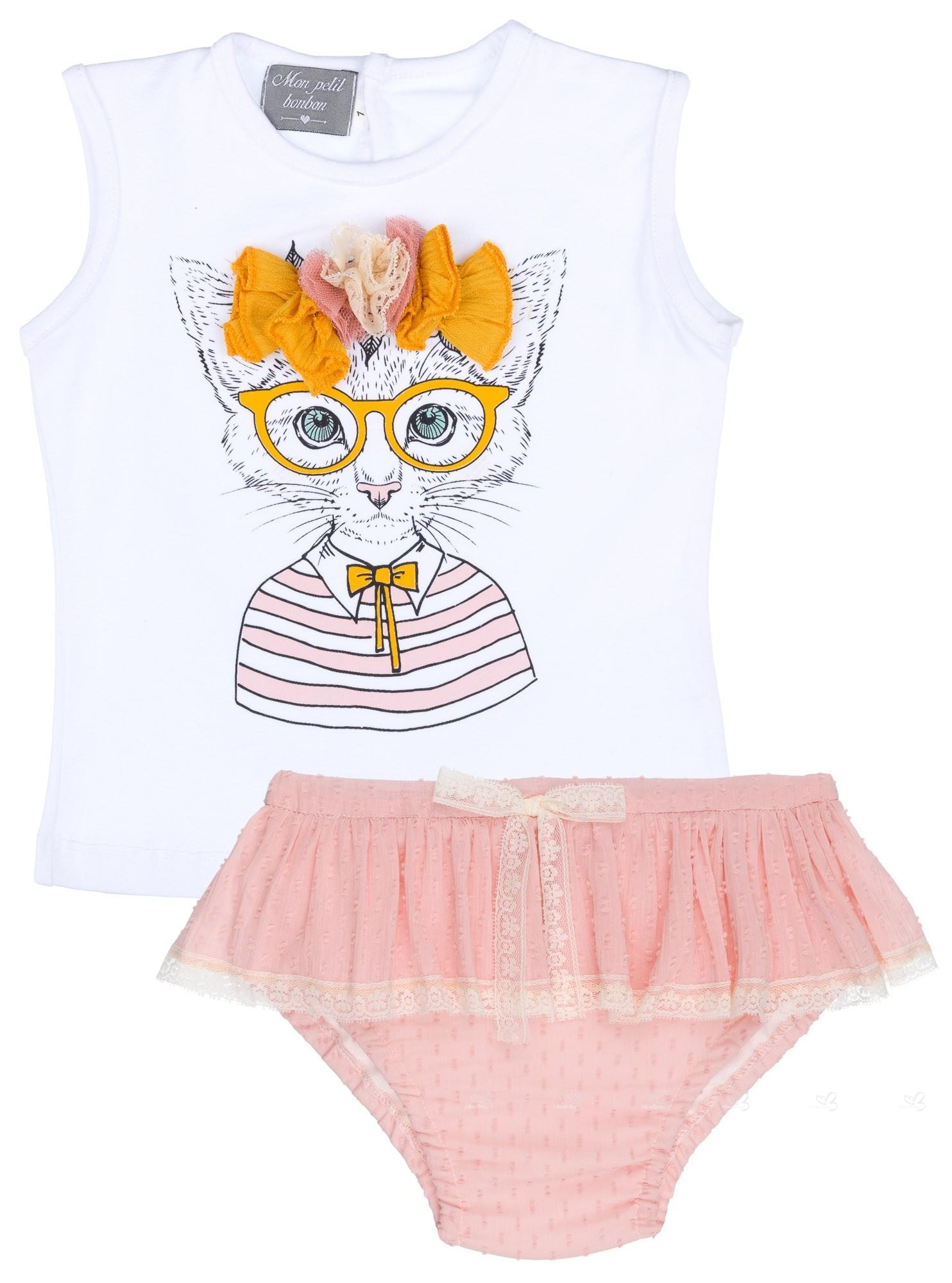 e3c720bd5 Mon Petit Bonbon Conjunto Bebé Camiseta Gatita   Braguita Plumeti Rosa  Empolvado ...