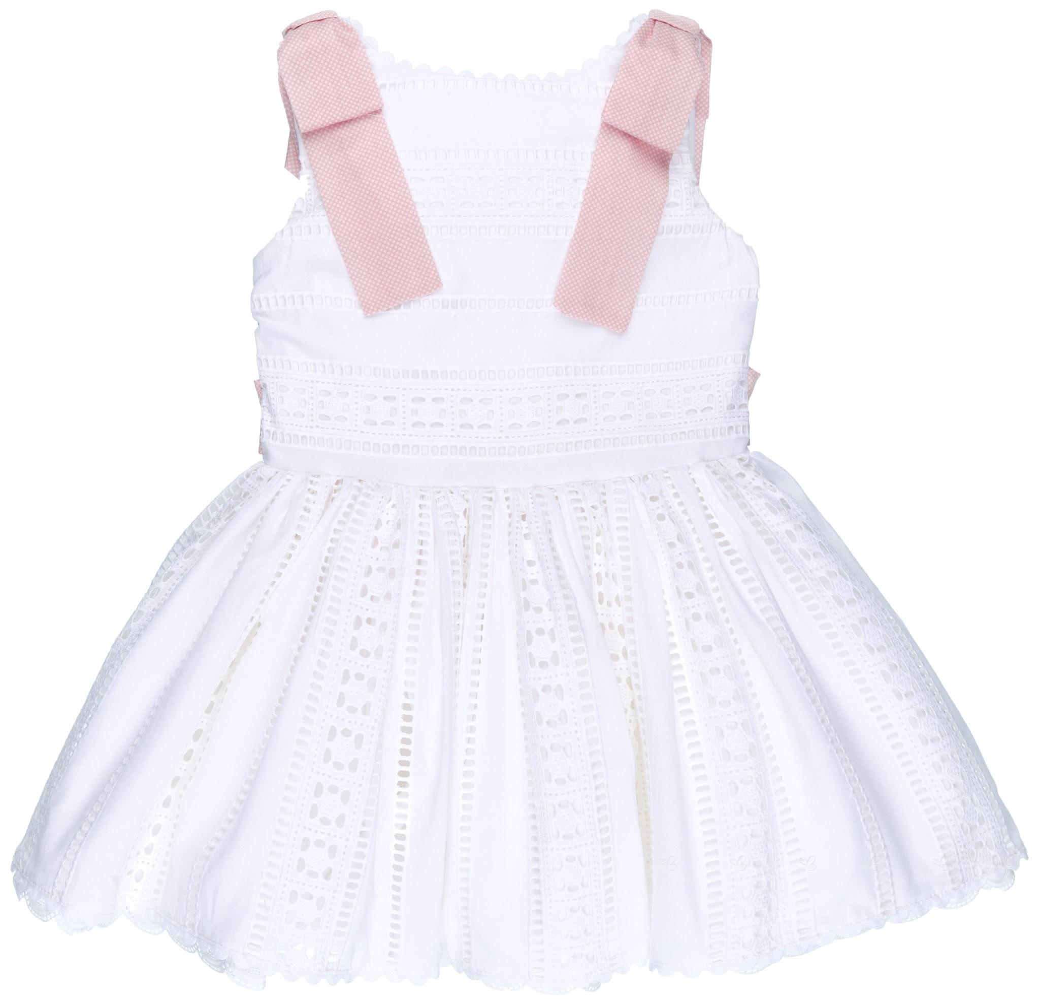 84095f7f0 Badum Badero Vestido Niña Algodón Perforado Blanco & Lazos Lunares Rosa ...