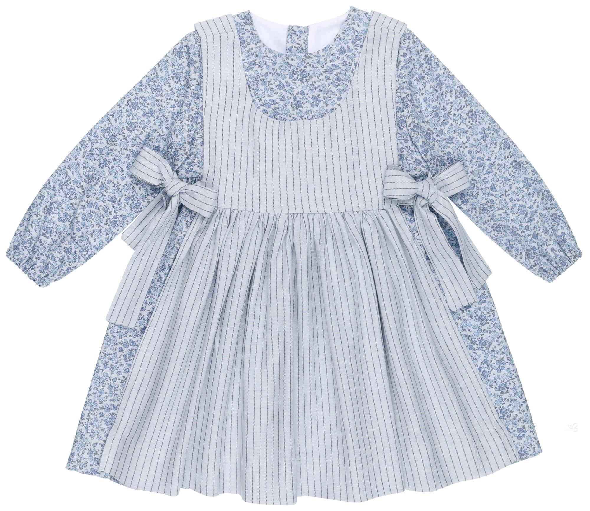 Liberty Mandil Niña Vestido Azulamp; Cuadros MSUzVp