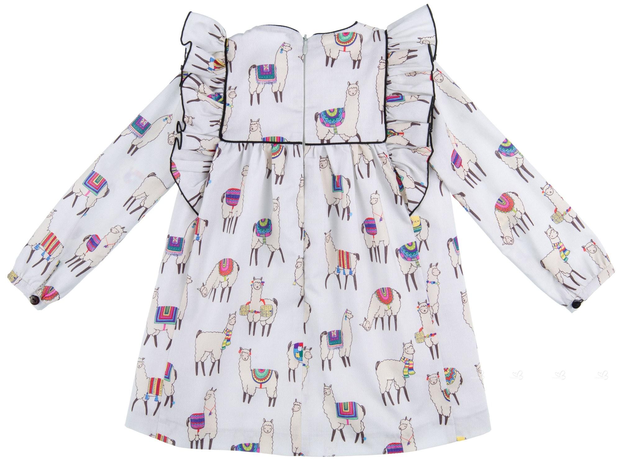 ... Mon Petit Bonbon Vestido Niña Estampado Llamas Gris a0e3d6803535