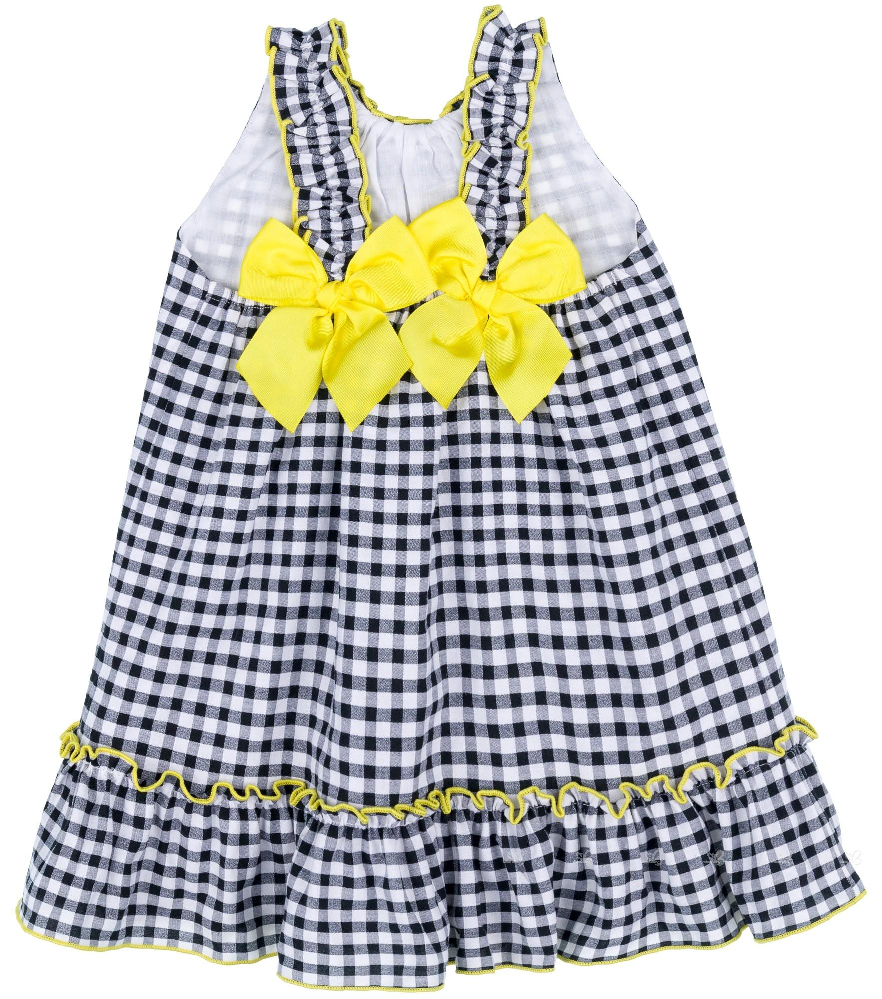 f10c6ee74d ... Mon Petit Bonbon Vestido Niña Vichy Negro   Lazos Amarillos