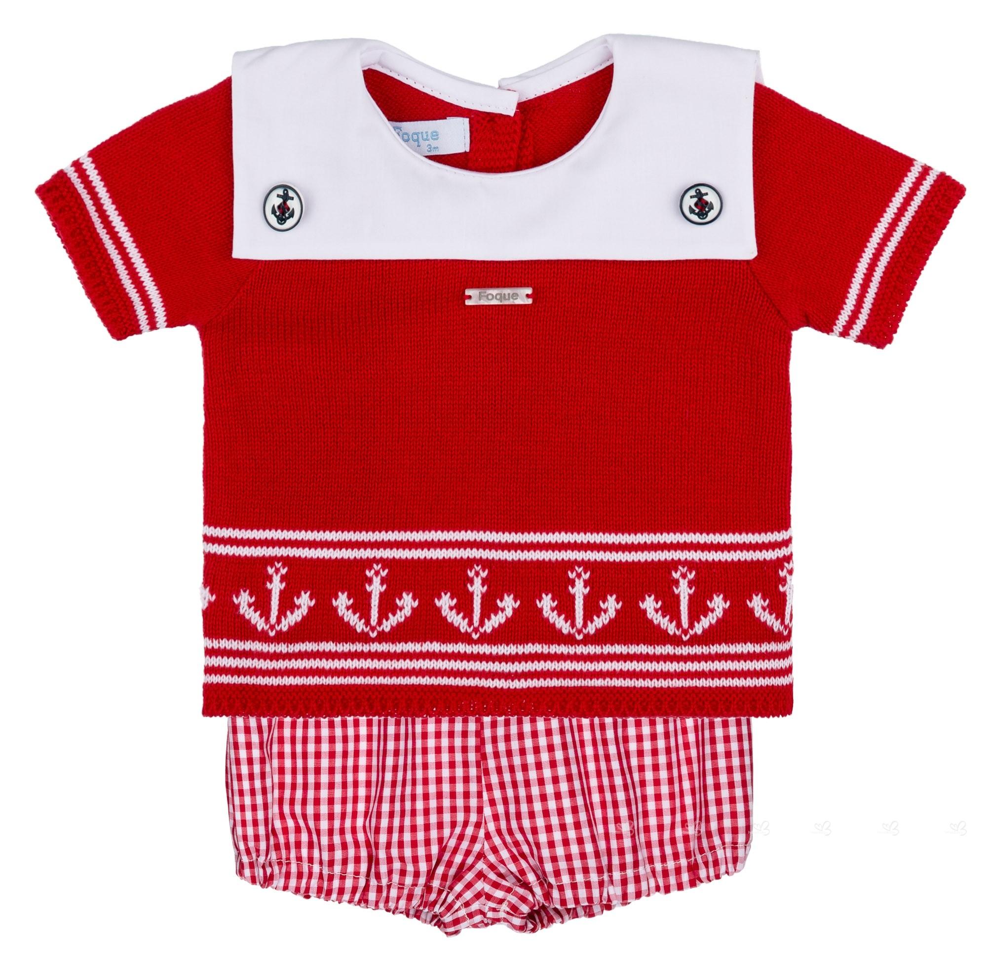 436e8b2b0 Foque Conjunto Marinero Bebé Niño Camiseta Punto   Bombacho Vichy Rojo ...