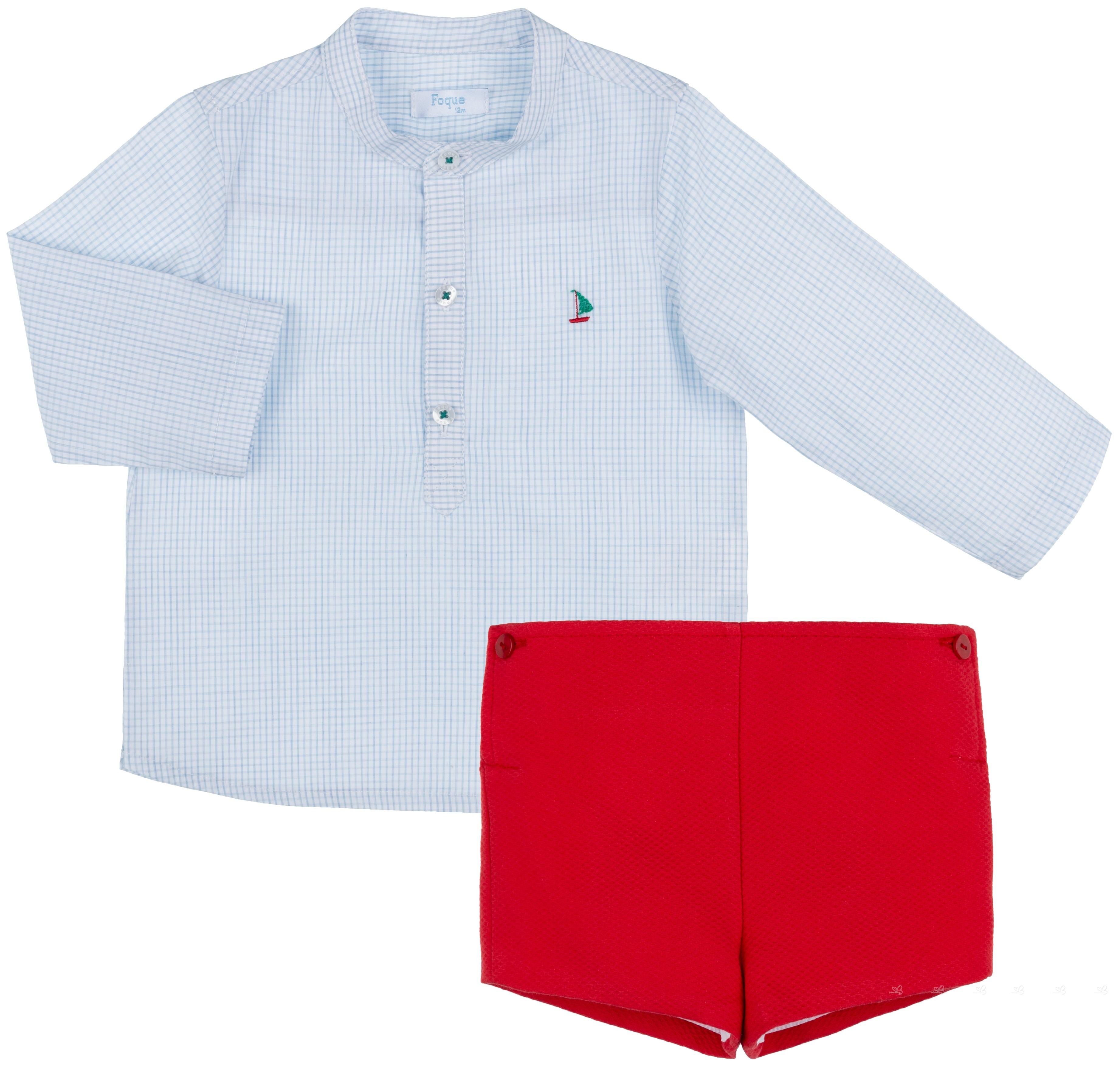 Niño Azulamp; Camisa RojoMissbaby Foque Short Piqué Conjunto Cuadros XuTPkOZi