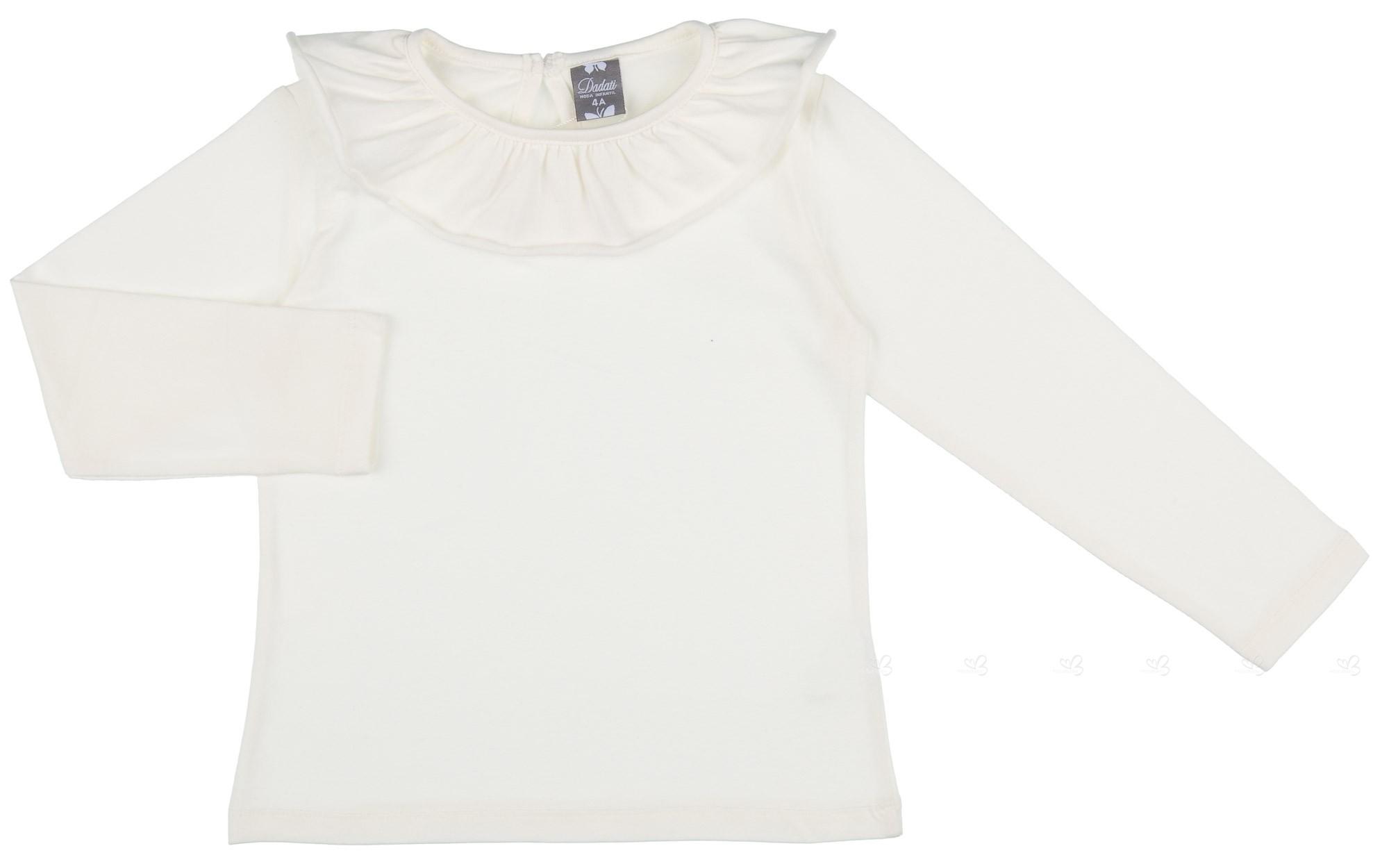 40774fa87 Dadati Camiseta Niña Cuello Volante Algodón Blanco Roto ...