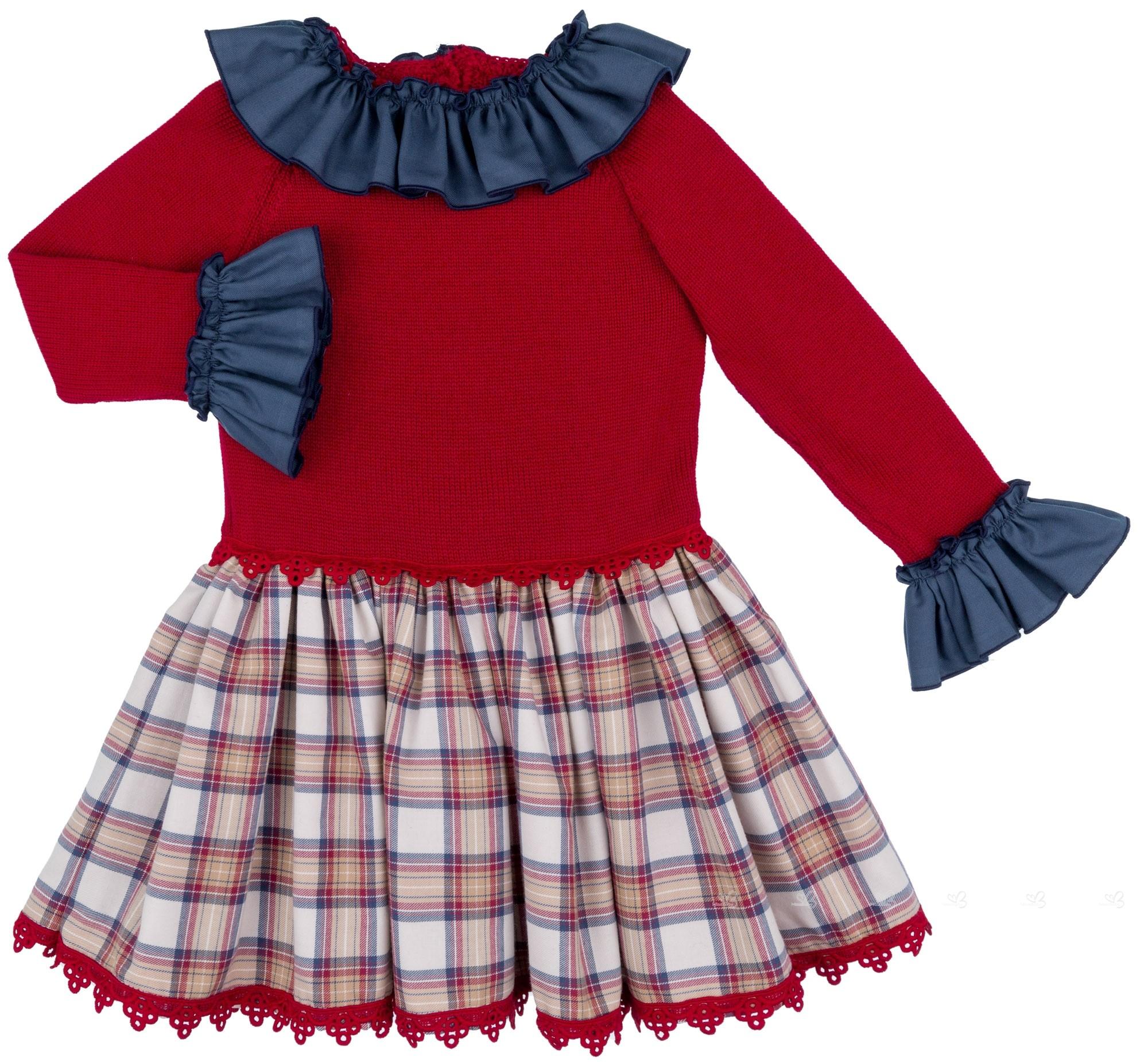ccb8c9d1f Marané Vestido Niña Cuerpo Punto Granate & Falda Cuadros Beige ...