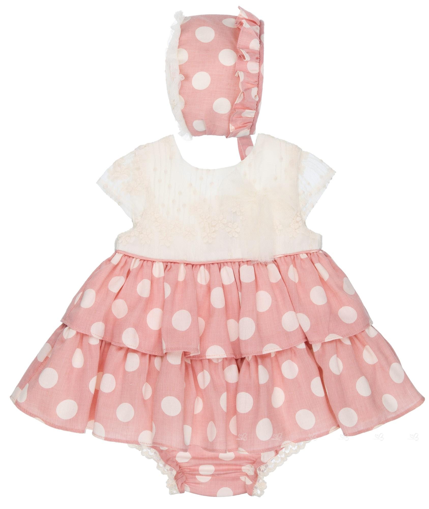 8f371bbef50 Conjunto Bebé 3 Piezas Vestido Cuerpo Encaje Crudo   Falda Volantes Lunares  Rosa Empolvado ...