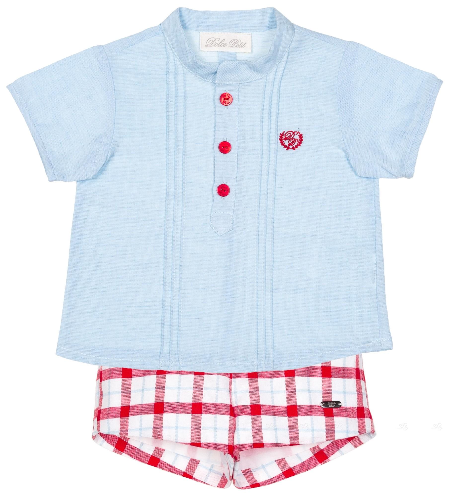 3bcd9722a Dolce Petit Conjunto Bebé Niño Camisa Celeste & Short Cuadros Rojo ...