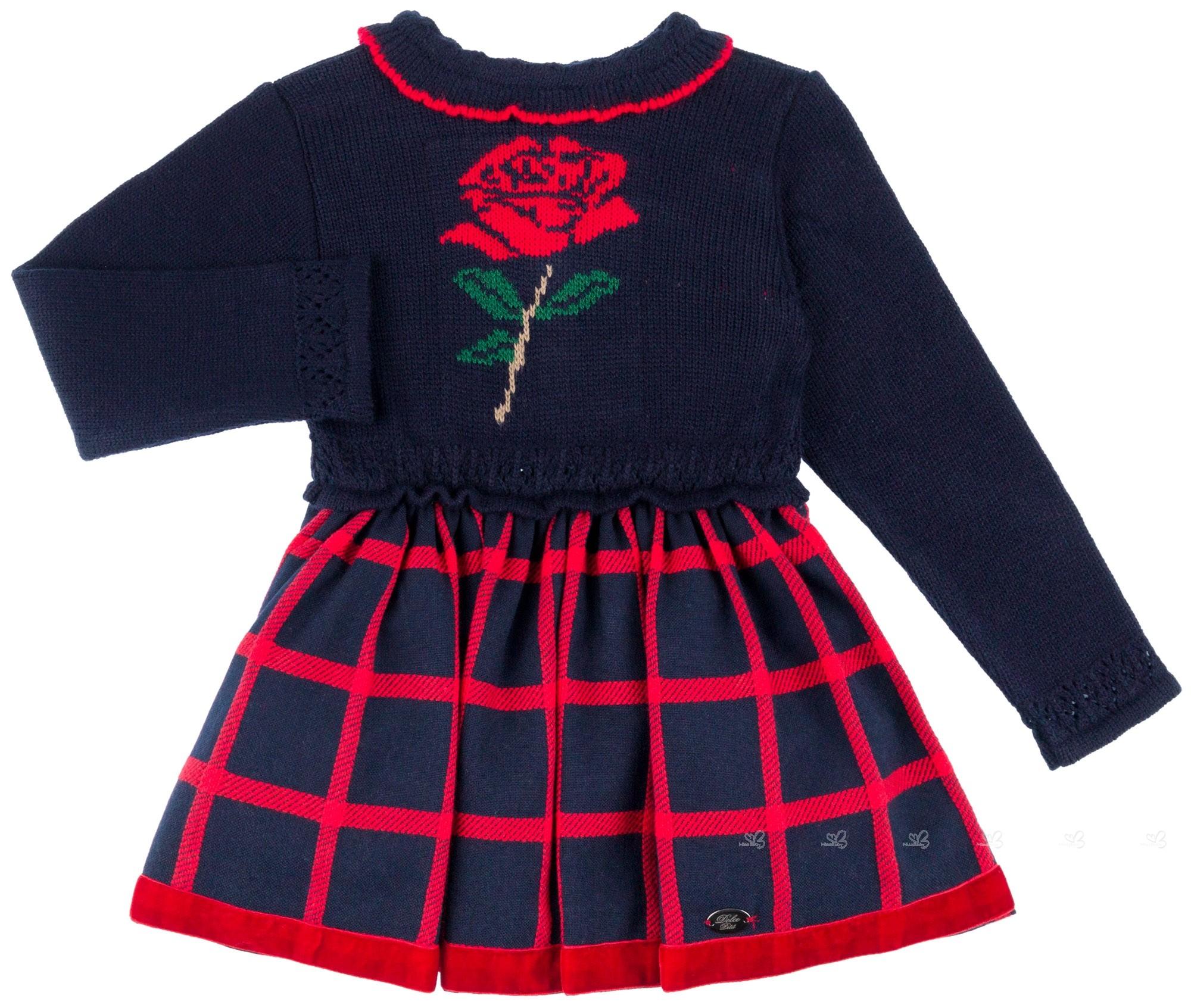 Dolce Petit Vestido Niña Cuerpo Punto Flor Rosa   Falda Cuadros Marino ... 44c5bc72639f