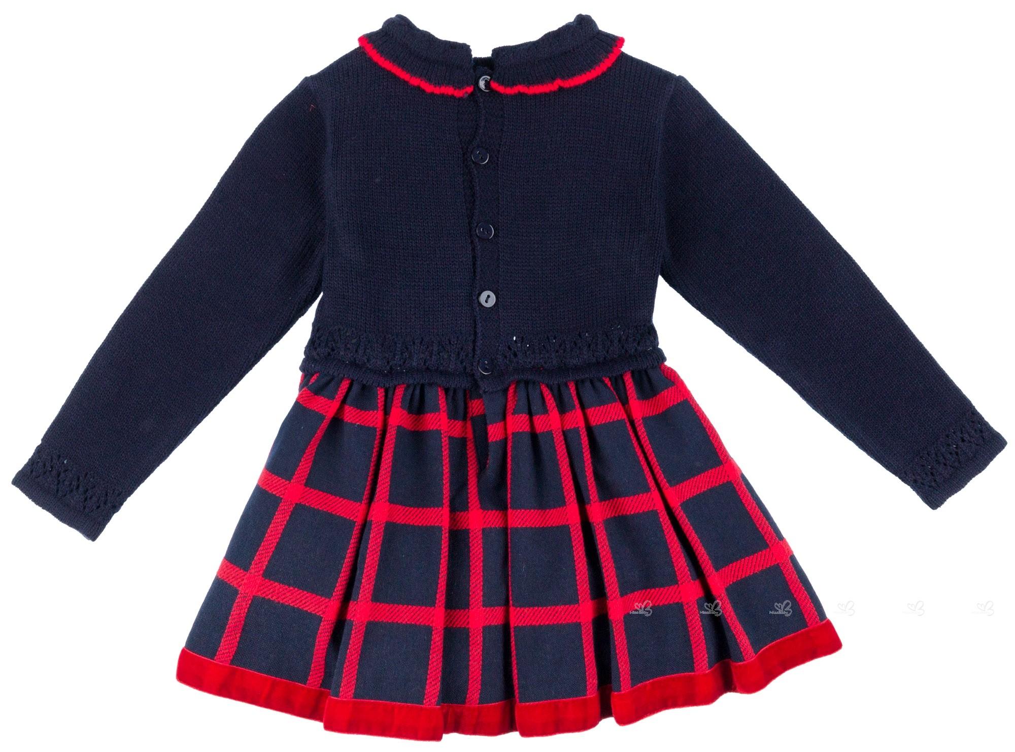 ... Dolce Petit Vestido Niña Cuerpo Punto Flor Rosa   Falda Cuadros Marino 0fb986e7d810