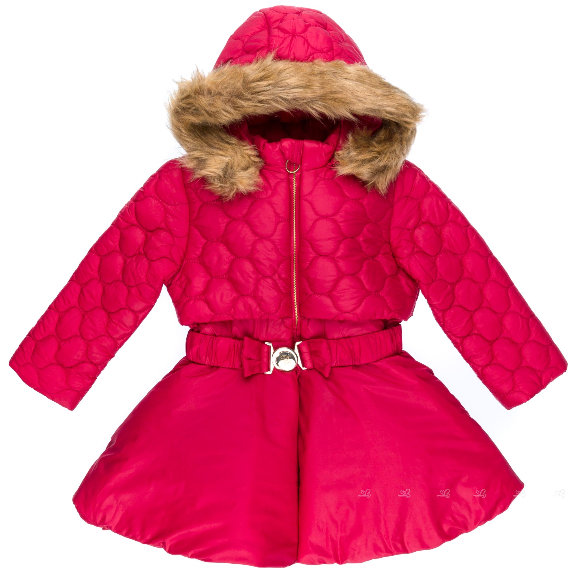 Dolce Petit Abrigo Niña Efecto 2 Pieza Rojo   Capucha Desmontable Pelo  Sintético ... cb141ed7248