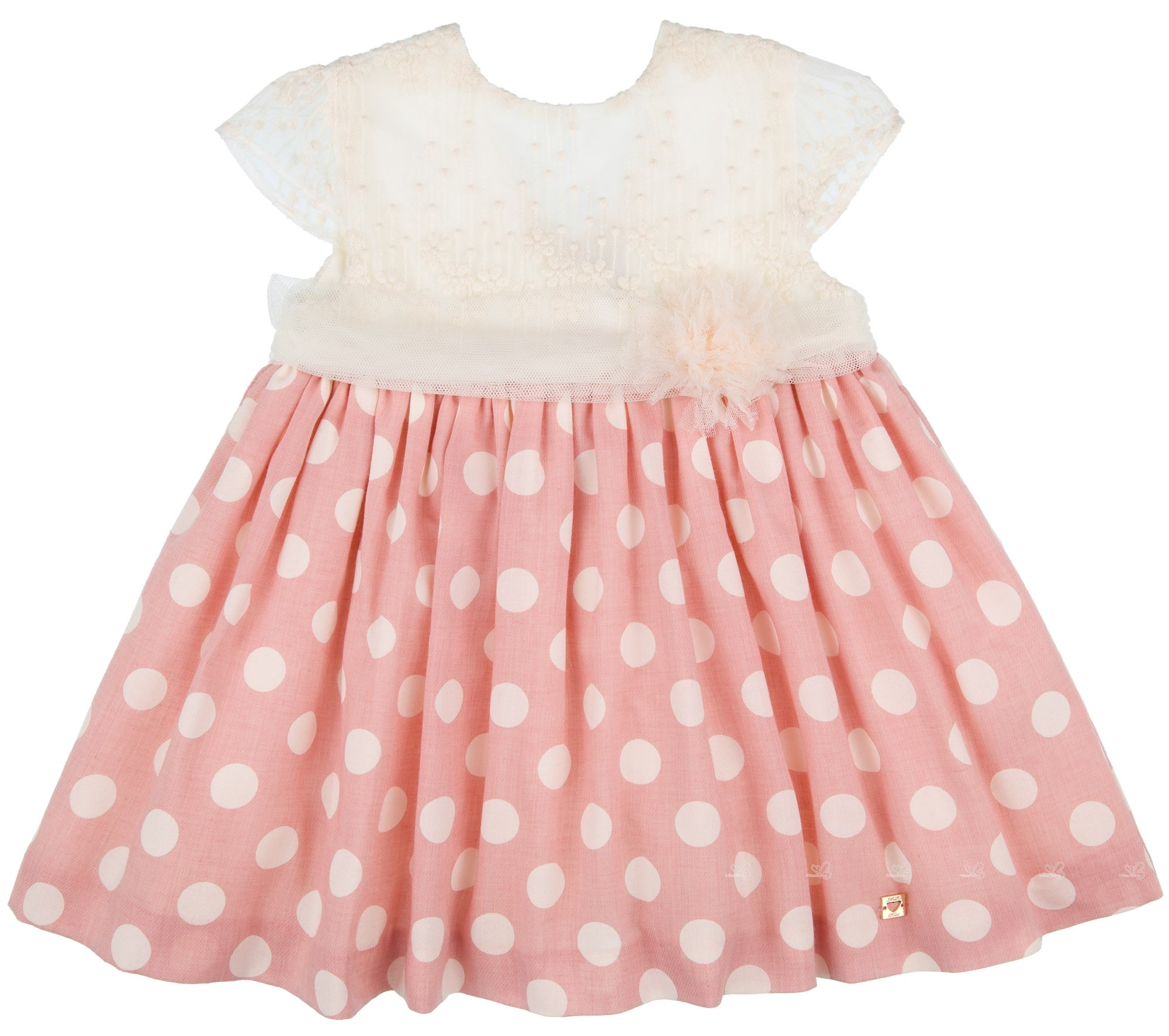 Vestido Niña Cuerpo Encaje Crudo Falda Lunares Rosa Empolvado