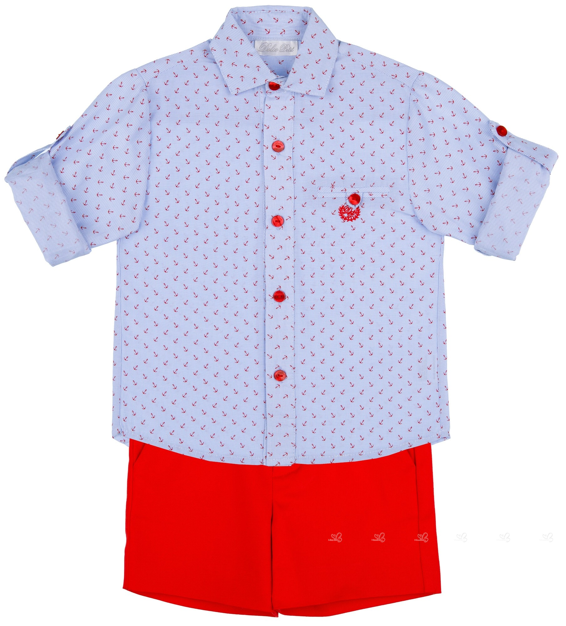 37b85b726 Dolce Petit Conjunto Niño Camisa Anclas Azul   Short Rojo ...