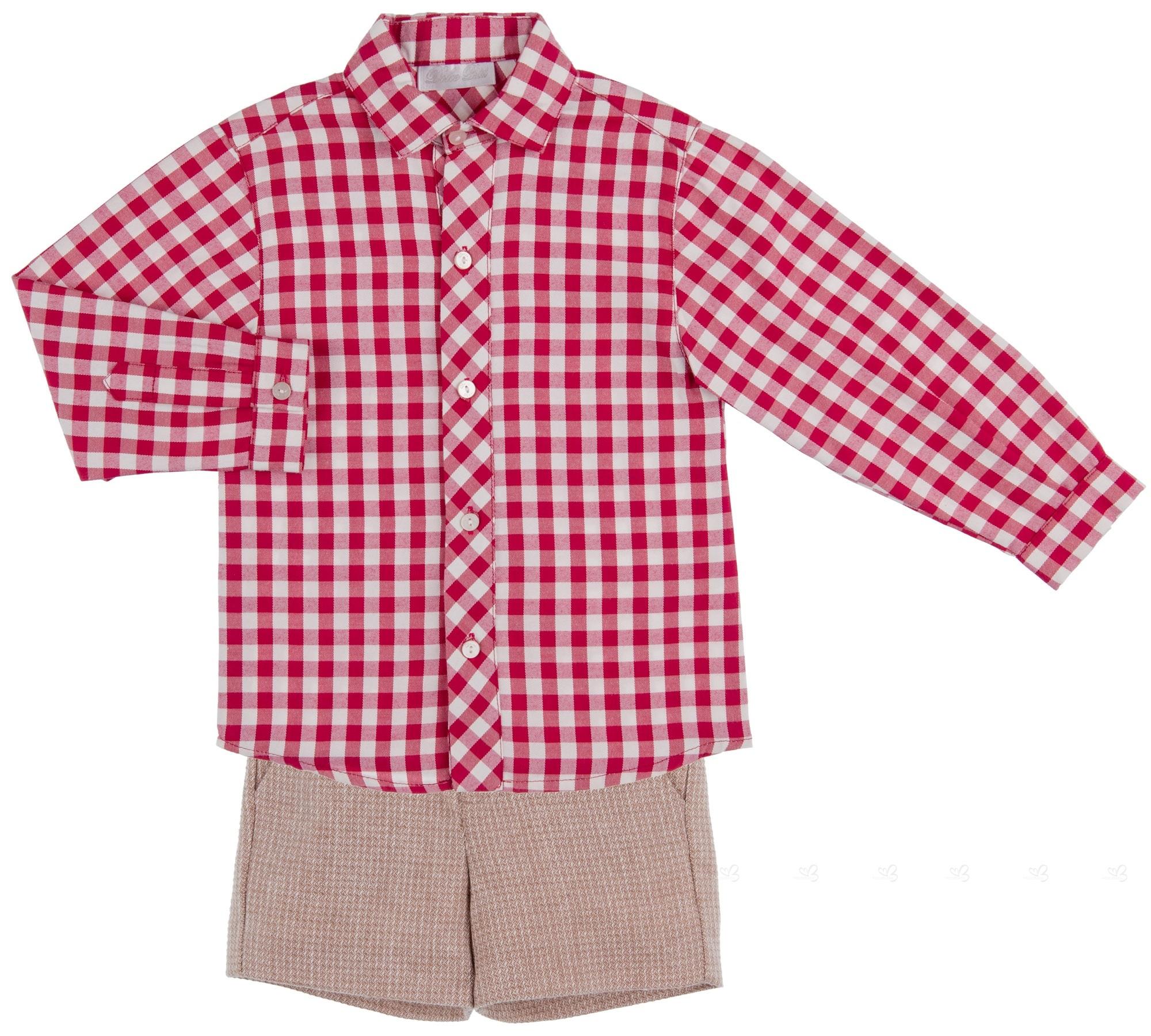 73b9de283443b Dolce Petit Conjunto Niño Camisa Cuadros Granate   Short Beige ...